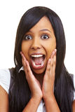 förvånad kvinna för afrikan Arkivfoton