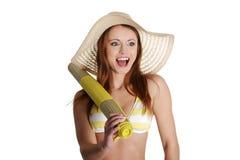förvånad kvinna för bikinisommar Royaltyfria Bilder