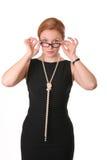 förvånad kvinna för exponeringsglas Royaltyfria Foton