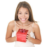 förvånad kvinna för gåva Royaltyfria Foton