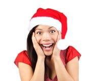 förvånad kvinna för jul Arkivbilder