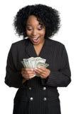 förvånad kvinna för pengar Royaltyfri Bild