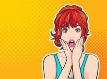 Förvånad kvinnaframsida med den öppna munnen med rosa kanter stock illustrationer
