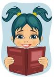 Förvånad liten flicka som läser den intressanta boken vektor illustrationer