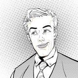 förvånad manstående förvånad affärsman mannen förvånade Illustration för stil för popkonst retro Folk i retro stil Fotografering för Bildbyråer