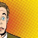 förvånad manstående förvånad affärsman mannen förvånade Begreppsidé av annonseringen och promoen Retro popkonst Arkivbild