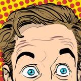 förvånad manstående förvånad affärsman mannen förvånade Begreppsidé av annonseringen och promoen Retro popkonst Fotografering för Bildbyråer