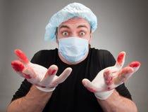förvånad sjuk kirurg Arkivfoton