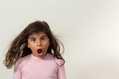 Förvånad stor flicka Fotografering för Bildbyråer