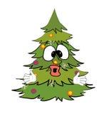 Förvånad tecknad film för julträd Royaltyfri Fotografi