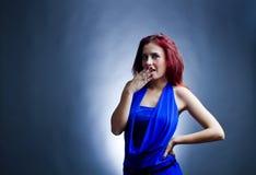 Förvånad ung kvinna Fotografering för Bildbyråer