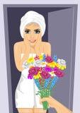 Förvånad ung kvinna som slås in i den vita handduken stock illustrationer