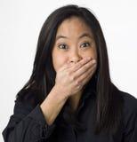 förvånad vietnamesisk kvinna Arkivfoto