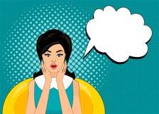 Förvånade komisk stil för popkonst kvinnan med anförandebubblan, stift upp flickaståenden, vektorillustration Arkivbild