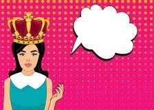 Förvånade komisk stil för popkonst kvinnan med anförandebubblan, stift upp flickaståenden, vektorillustration Royaltyfri Foto
