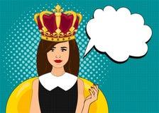 Förvånade komisk stil för popkonst kvinnan med anförandebubblan, stift upp flickaståenden, vektorillustration Fotografering för Bildbyråer