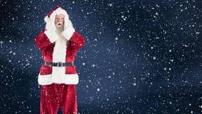 Förvånade Santa Claus kombinerade med fallande snö lager videofilmer