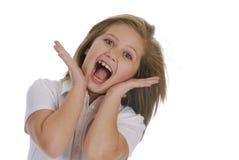 förvånadt barn för flicka Arkivbilder