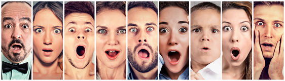 Förvånat chockat folk Mänsklig sinnesrörelsereaktion royaltyfri fotografi