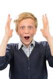 Förvånat skrika hänfört för tonårs- pojke Arkivbilder