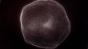 Förvandla av amorf form från prickar och linjer, abstrakt animering av framtida form En morphing sfärisk svärm av stock illustrationer