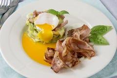 Förvanskade ägg med zucchinin royaltyfri fotografi