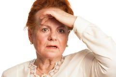 Förvirrad hög kvinna Royaltyfri Foto