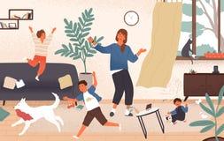Förvirrad mamma och förtjusande stygga busiga barn som hoppar runt om henne Bedrövad och olycklig moder som förbi omges vektor illustrationer