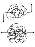 Förvirrad process, kaoslinje symbol Tangled klottrar idévektorbegrepp royaltyfri illustrationer