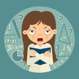 Förvirrad skolflicka med läroboken i henne händer math vektor illustrationer