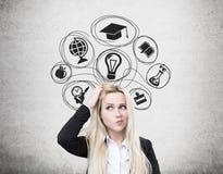 Förvirrade blonda kvinna- och utbildningssymboler Arkivfoton