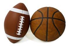 Fútbol americano y baloncesto foto de archivo