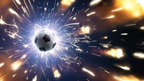 Fútbol Balón de fútbol El fondo del fútbol con el fuego chispea en la acción Foto de archivo