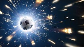 Fútbol Balón de fútbol El fondo del fútbol con el fuego chispea en la acción en el negro Foto de archivo libre de regalías