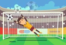 Fútbol, bola de cogida del portero del fútbol en el ejemplo del vector de la meta ilustración del vector