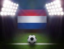 Fútbol con Holland Flag en estadio Imágenes de archivo libres de regalías