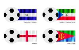 Fútbol con la bandera de El Salvador, de la Guinea Ecuatorial, de Inglaterra y de Eritrea Foto de archivo libre de regalías