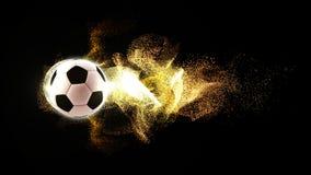 Fútbol con las partículas del fuego que fluyen Foto de archivo libre de regalías