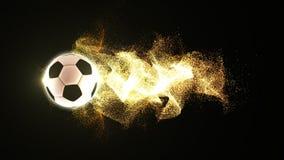 Fútbol con las partículas del fuego que fluyen Imagenes de archivo