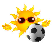 fútbol de 3d Sun Imágenes de archivo libres de regalías