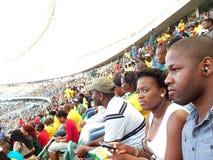 Fútbol de observación en el estadio Fotografía de archivo