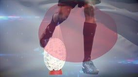 Fútbol de retroceso con el pie del jugador del rugbi de la camiseta libre illustration