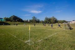 Fútbol del fútbol seis esquinas de las escuelas Foto de archivo libre de regalías