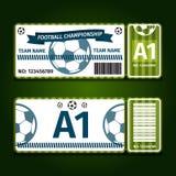 Fútbol, ejemplo del vector del diseño de tarjeta del boleto del fútbol Fotografía de archivo