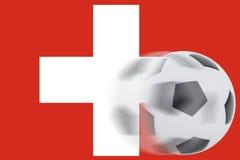 Fútbol en bandera suiza Imágenes de archivo libres de regalías