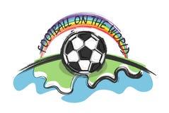 Fútbol en el mundo y el arco iris en fondo del whitw Garabato y estilo del dibujo del niño Diseño plano Vector para el worl inter ilustración del vector
