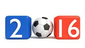 Fútbol en Francia 2016, cubos con fútbol Imagen de archivo libre de regalías
