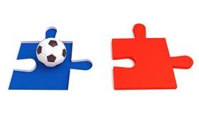Fútbol en Francia, rompecabezas tricolor con fútbol Imágenes de archivo libres de regalías
