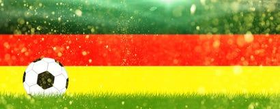 Fútbol en hierba delante de los colores de Alemania Imagen de archivo libre de regalías