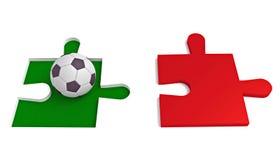 Fútbol en Italia, rompecabezas con fútbol Imagen de archivo libre de regalías